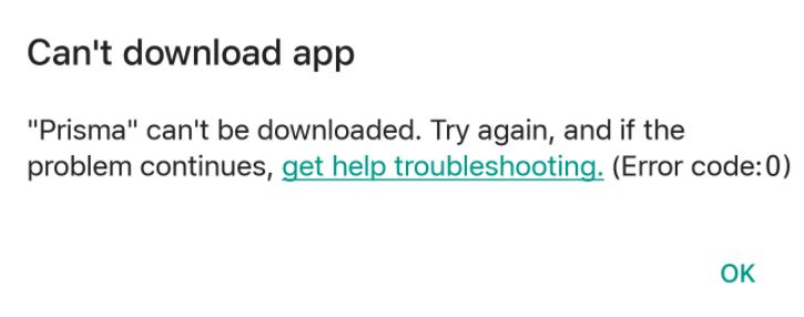 how to solve error code 0 in google play store